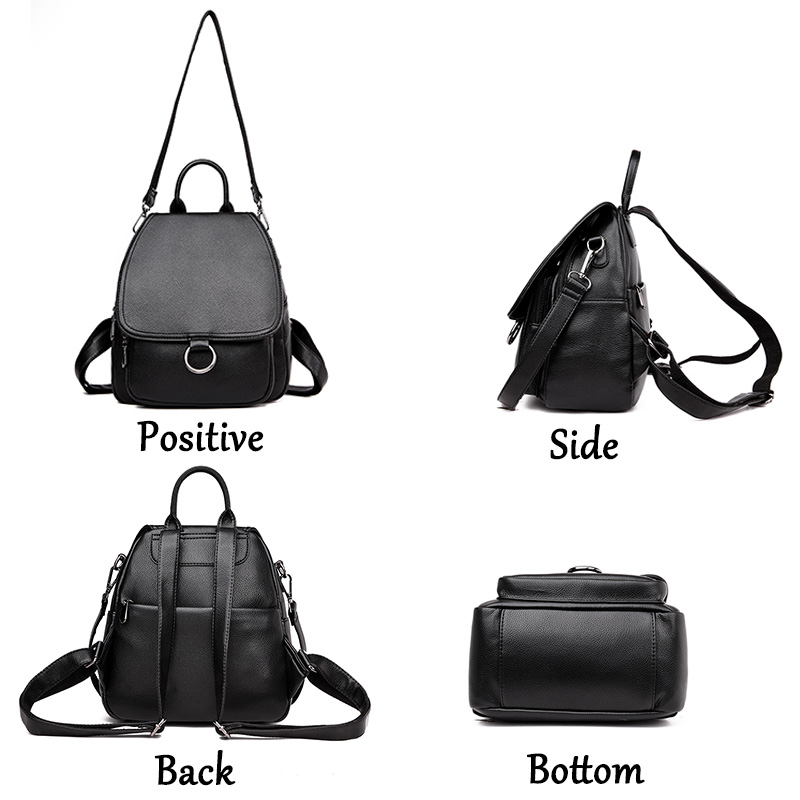 Image 3 - Gray Backpack for women 2019 Leather Backpack High capacity 