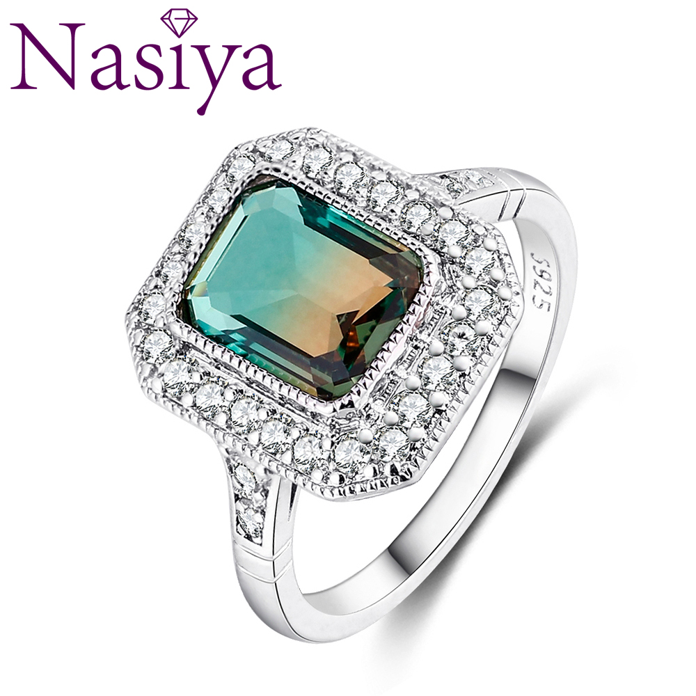 Jewelry Ring Fashion Multicolor AAAAA Zircon Rectangular 8*10MM Wedding Ring Bridal Lady Party Anniversary Gift Gemstone Ring