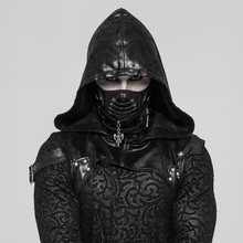 PUNK RAVE Men's Punk Mask PU Leather Breathable Double Net Personality Handsome Stage Performance Cosplay Masks