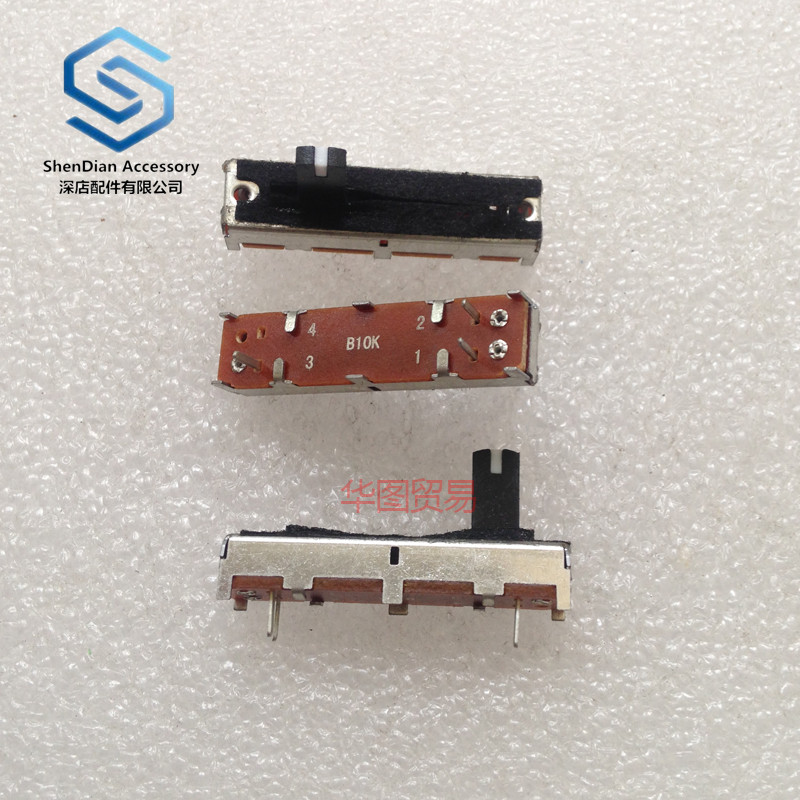 1pcs 100% New SC-302N Length 45mm Equalizing Straight Sliding Potentiometer B10k Handle Length 10mm With Dust Film