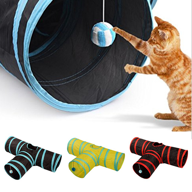 3 Holes Pet Cat Tunnel Toys Foldable Pet Cat Training Toy Interactive Tube Fun Toy For Cat Rabbit Animal Play Tunnel Tube image