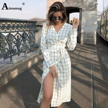 Female The Dress 2019 Autumn Long Sleeve V Neck Print Plaid Lace Up Open Stitch Mid Waist Vintage Irregular Women Dress colorwave300 cyan 350 мл 5834b006