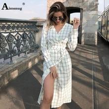 Female The Dress 2019 Autumn Long Sleeve V Neck Print Plaid Lace Up Open Stitch Mid Waist Vintage Irregular Women Dress набор цветных карандашей universal carioca 24 шт 17 5 см односторонние 40381 точилка 40381
