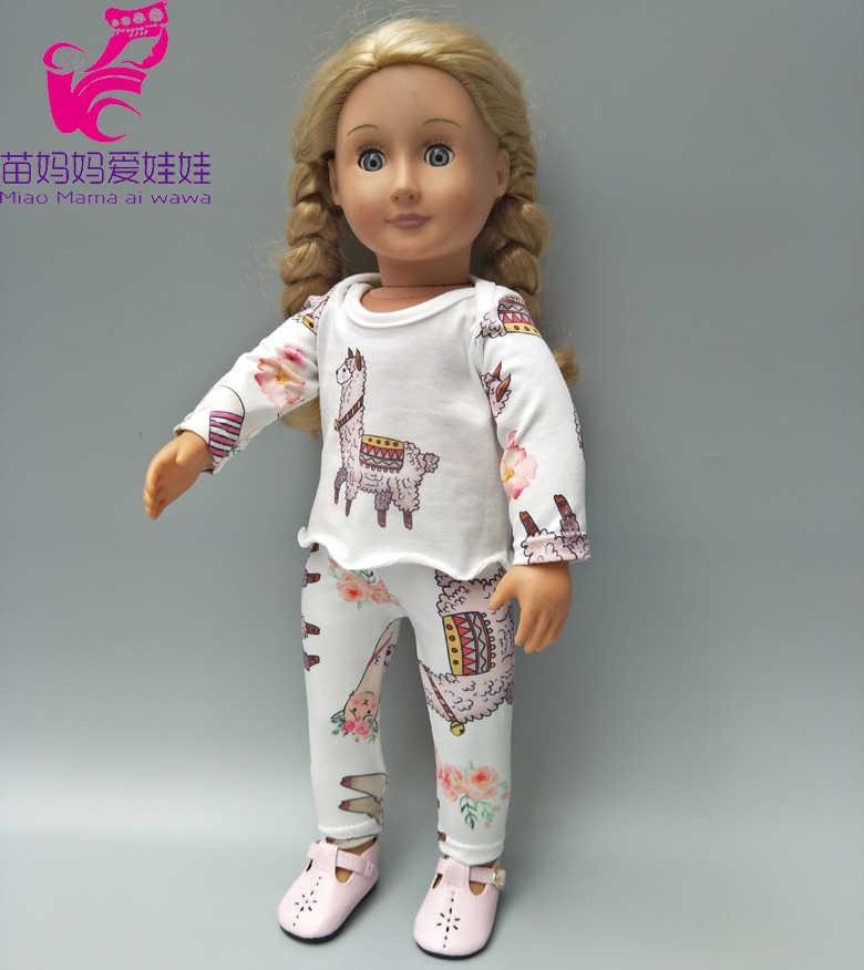 """Pop kleding broek cartoon alpaca pyjama voor baby doll kleding sets voor 18 """"meisje poppen jas"""
