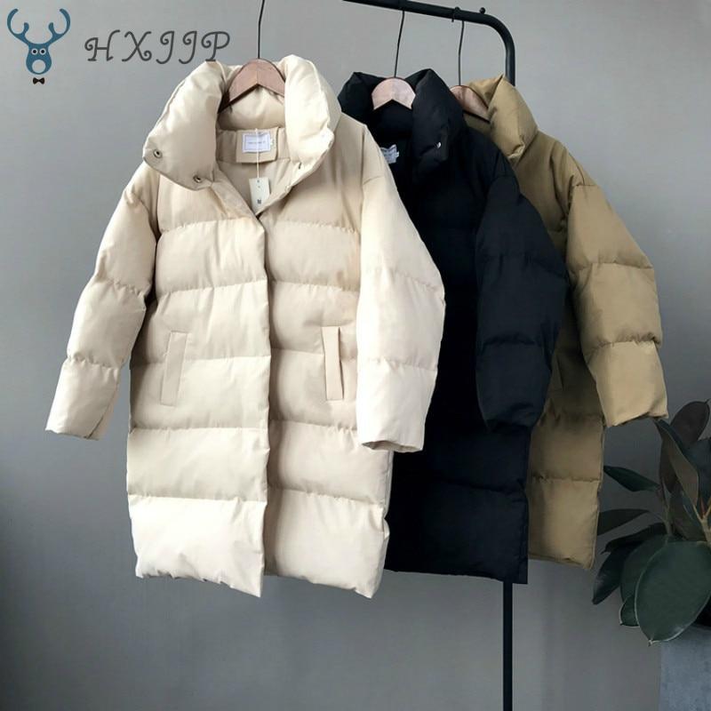 HXJJP Duck Down Jacket Women Winter 2019 Outerwear Coats Female Long Casual Warm Down puffer jacket Parka branded