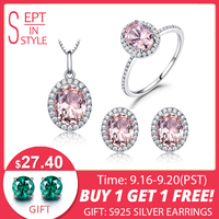 UMCHO 925 Sterling Silver Jewelry Set Pink Sapphire Ring Pendant Necklaces Stud Earrings For Women Wedding Party Jewelry Sets