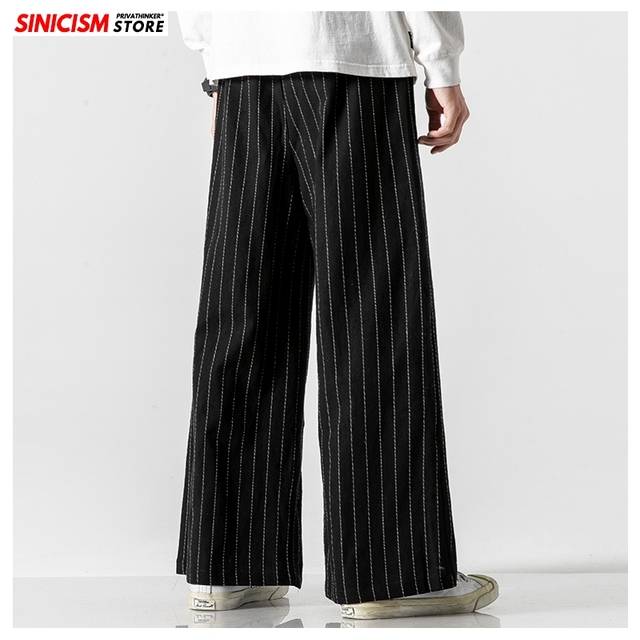 Sinicism Store Men Striped Chinese Style Wide Leg Pants Mens 2020 Japan Style Loose Trousers Male Oversize Vintage Casual Pants 19