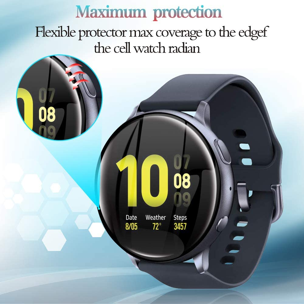 3D Full Screen Protector Film for Samsung Galaxy Watch Active 2 40mm 44mm HD Anti-Bubble Soft Curved Edge Screen Protector Cover 2