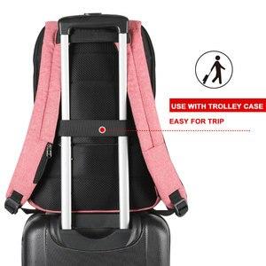 Image 5 - Pas de clé Anti vol TSA serrure mode femmes sacs à dos 15.6 pouces USB charge ordinateur portable femme Mochila 18L collège école sac à dos