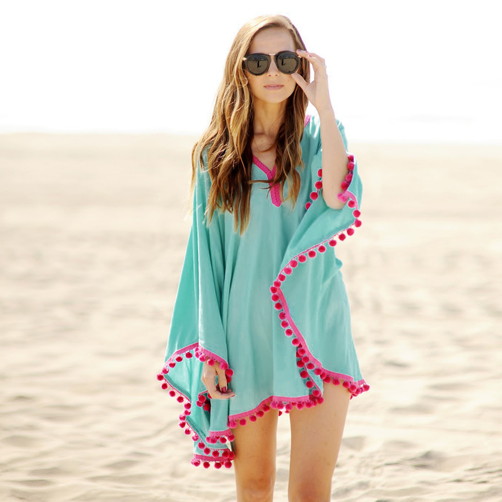 New <font><b>Fashion</b></font> <font><b>Summer</b></font> <font><b>Women</b></font> Solid Color Tassel Deep V-neck <font><b>Dress</b></font> <font><b>Sexy</b></font> <font><b>Beach</b></font> <font><b>Dress</b></font> Smock Waist Bohemian <font><b>Dress</b></font> vestido image