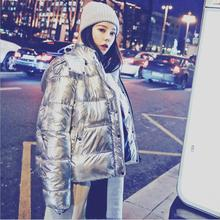 Sitruuna 2019 winter new fashion women Korean thicker warm down jacket female silver color down coat female Hooded coat cheap Short wj1772 Thick (Winter) zipper Wide-waisted Casual Spliced Zippers Pockets Button Acetate Solid Stand Full REGULAR