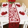 Любовь Настольная дорожка принт красное сердце украшения с красным кружевом Свадебная вечеринка День Святого Валентина подарок для дома С...