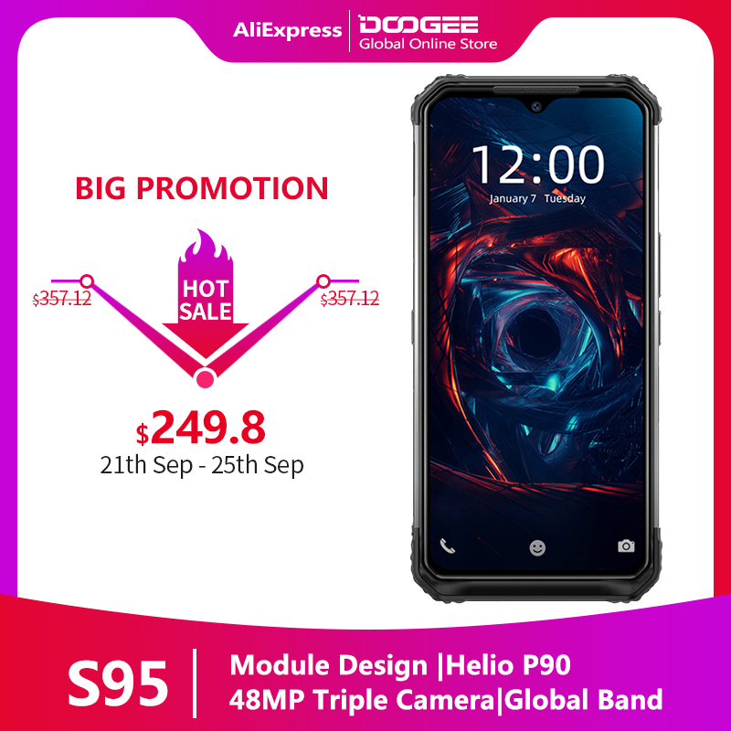 "DOOGEE S95 Modular Rugged Mobile Phone IP68 Smartphone 6.3"" Helio P90 Octa Core 6GB 128GB 48MP Triple Camera Android 9.0 5150mAh(China)"