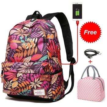 Nowy 2020 Student Bookbag trwałe plecak szkolny z miejscem na laptopa z Port ładowania USB podróży torba studencka dla kobiet dziewczyny torby szkolne tanie i dobre opinie Bansusu POLIESTER żakaradowy WOMEN Rama zewnętrzna 20-35 litrów Otwór na wyjście Kieszonka na telefo Wewnętrzna kieszeń na zamek błyskawiczny
