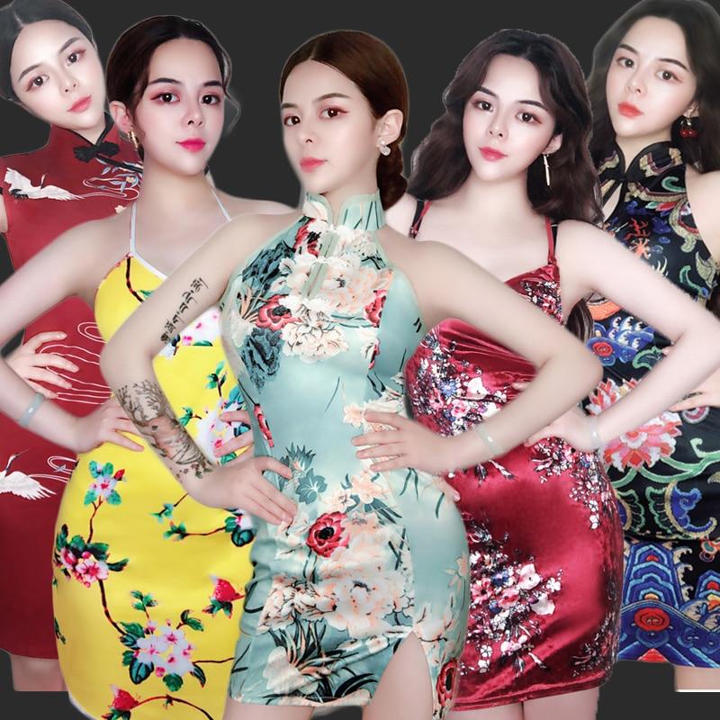 SexyStageCostumeWomen Vintage Chinese Style Sexy Cheongsam Dress Festival Outfit Celebrity Dresses NightclubSingerDjDT1365