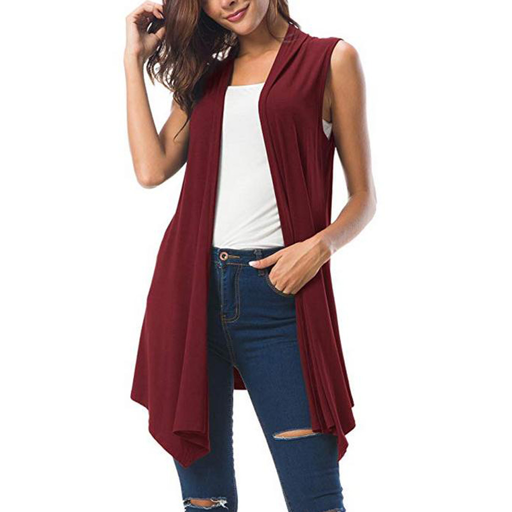 Fashion Women Open Vest Tunic Top Shawl Collar Sleeveless