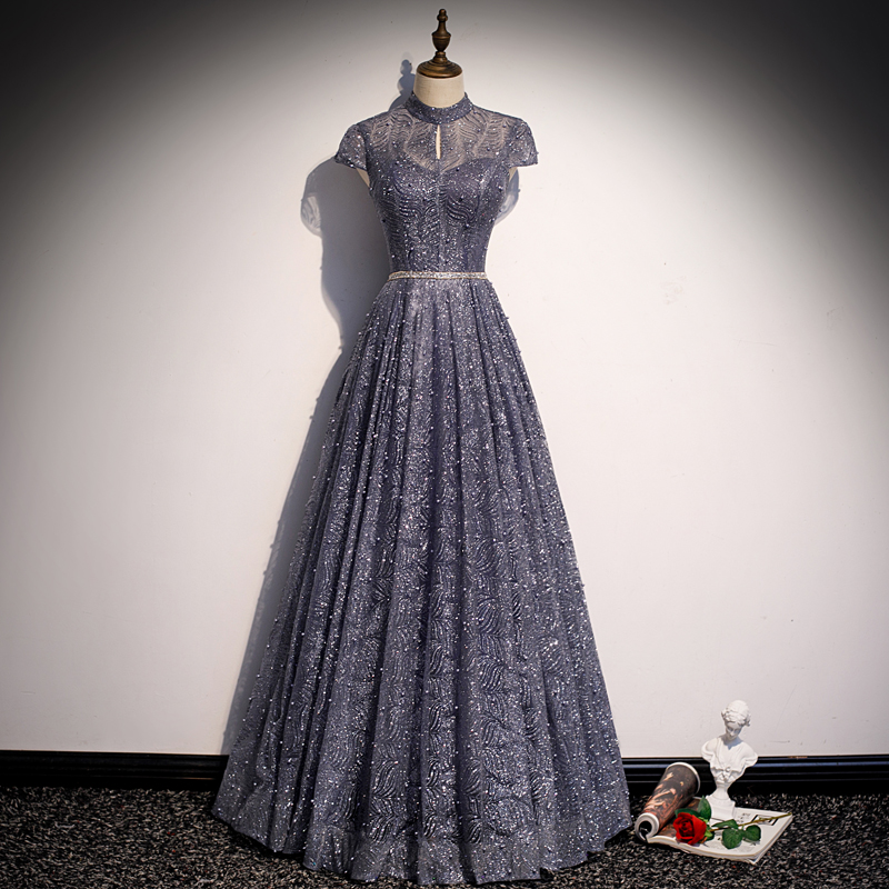SSYFashion New Shining Evening Dress Stand Collar Glorious Formal Gown A-Line Backless Floor Length Dress Vestidos De Fiesta