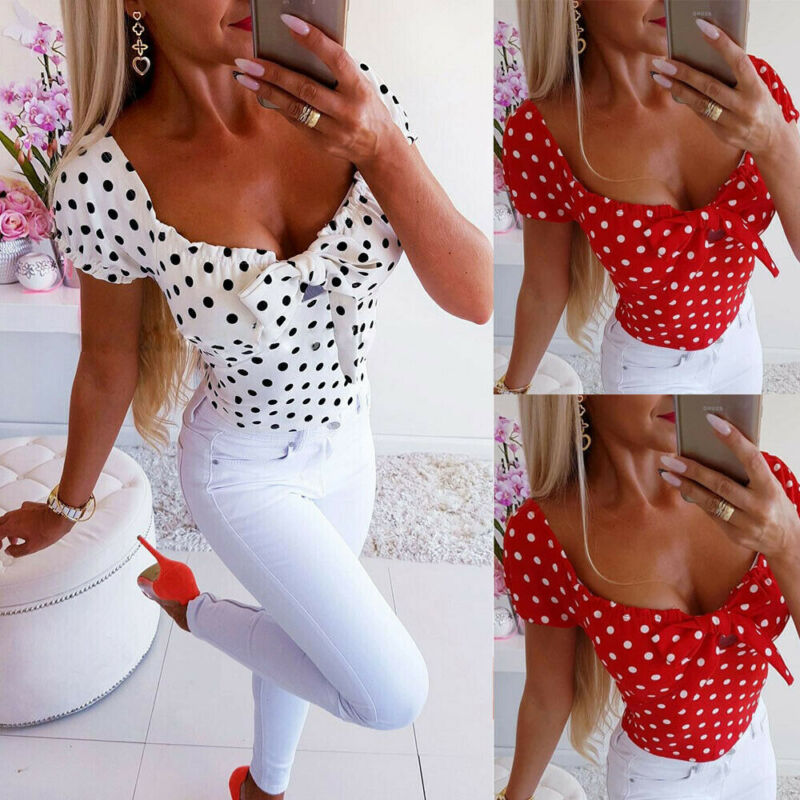 New Fashion Women Fashion Summer Casual Wave Point Low Cut Bow Blouse Short Sleeve Shirt