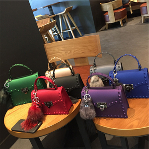 Image 3 - Rivets Women Handbags Candy Color Jelly Women Messenger Bags Luxury Designer PVC Womens Shoulder Bags Females Handbag 2020 New