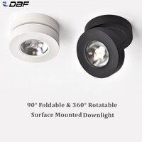 [DBF] ángulo ajustable LED luz empotrada montada en la superficie de 360 grados giratorio 3W 5W 7W foco de techo 3000K/4000K/6000K 220V