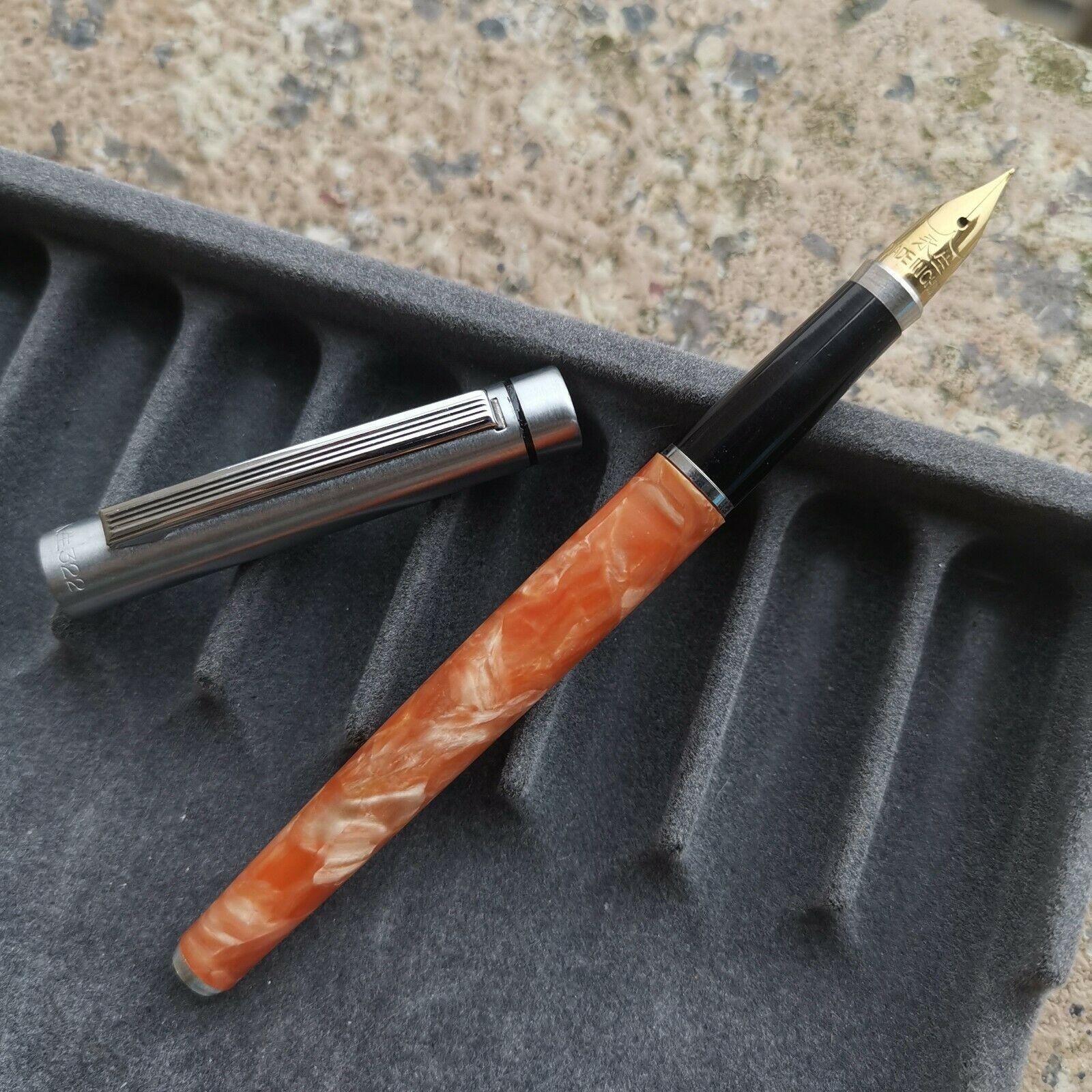Old Stock Wing Sung 322 Orange Celluloid Barrel Fountain Pen Fine Nib Stationery Office School Supplies Penna Stilografica