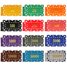 Poker-Chip-Set Coin-Feel Rectangular of 12-Kinds 1pcs Face-Value Gilding New-Product