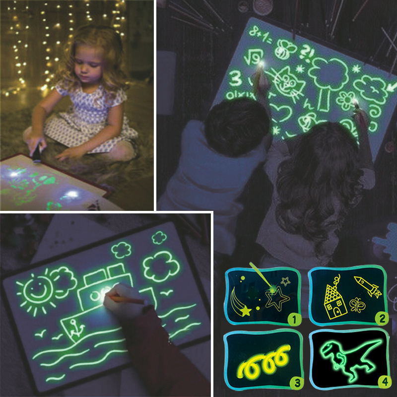Light Drawing With Night Light In Dark Children Funny Toys Writing Magic LED Luminous Drawing Board A2 A3 A4 Draw Light Set Kids