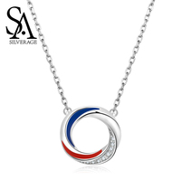 SA SILVERAGE Double Color Blue Red Europa S925 Necklace Women's Pure Silver Red Zircon Clavicle Chain Silver Necklace Women