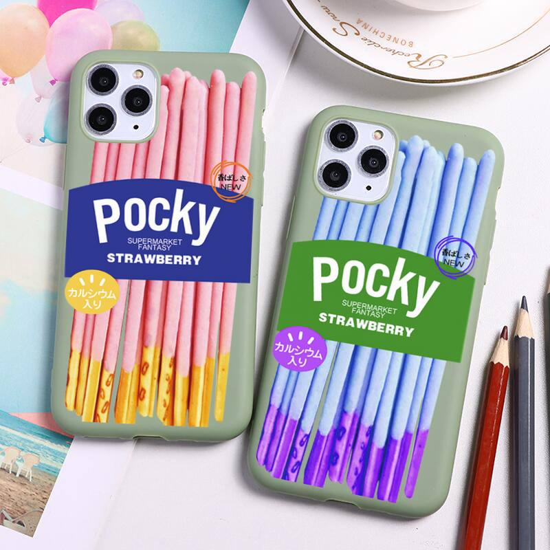 Cute Cartoon Pocky Cookies Phone Case For iphone 12 11 Pro Max Mini XS 8 7 6 6S Plus X SE 2020 XR Candy green Silicone cover