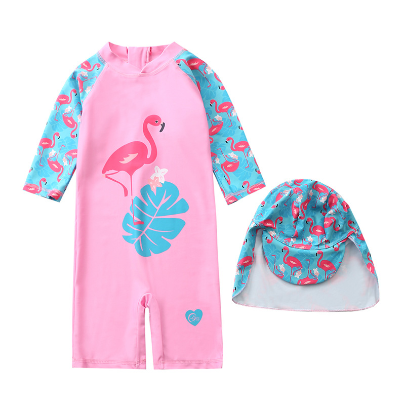 One-piece Swimsuit For Children Women's Long-Sleeve Pink Swan With Hat Swimwear GIRL'S Infant Baby Girls Swimwear