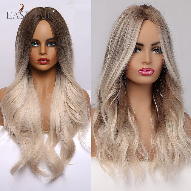 Easihair ombre marrom luz loira platina longo ondulado meio parte peruca de cabelo cosplay natural resistente ao calor peruca sintética para mulher 3