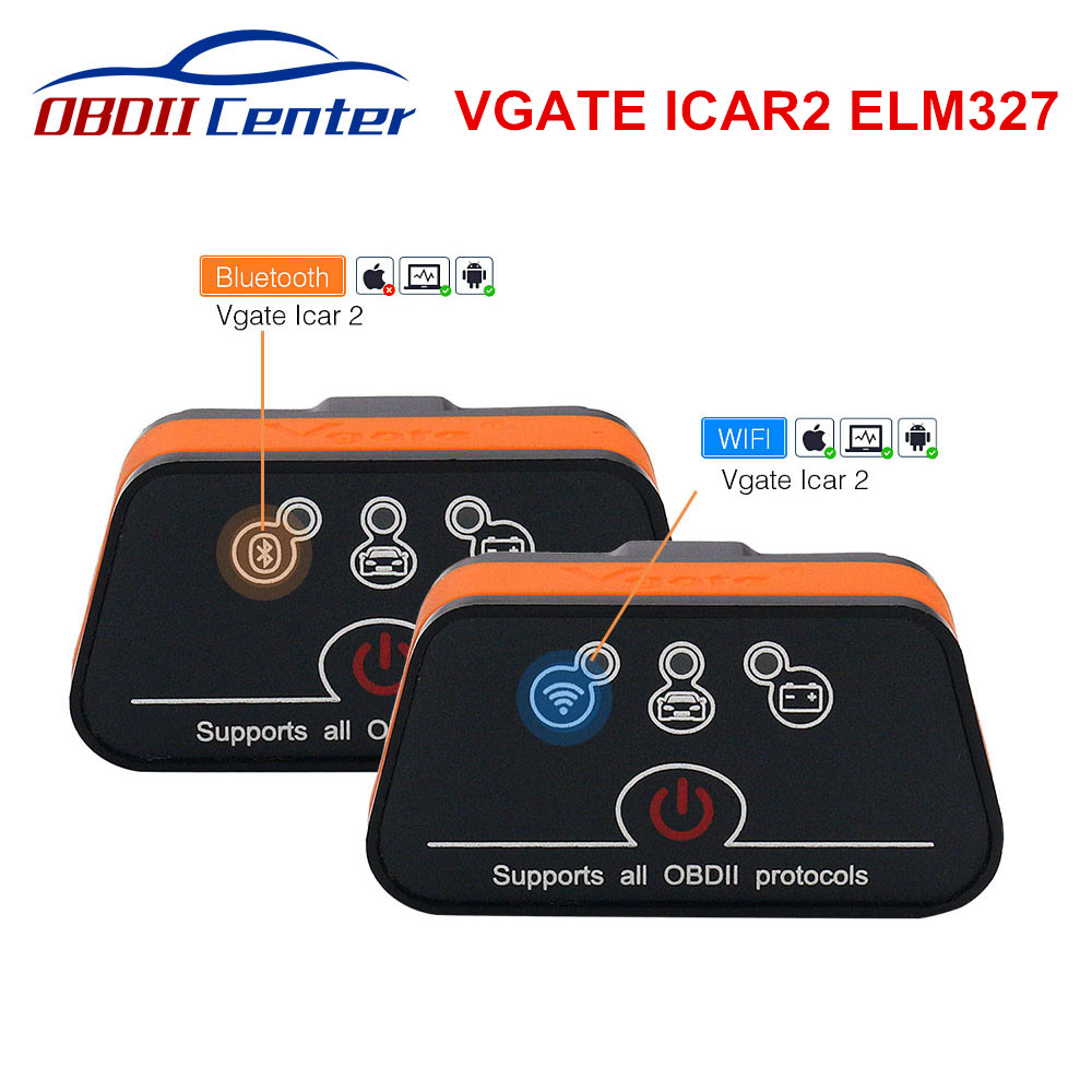 Original Vgate Icar2 Wifi Bluetooth ELM327 Diagnostic Scanner ICAR 2 Wi-fi IOS Android ELM 327 V2.1 For All OBD2 Protocols Cars
