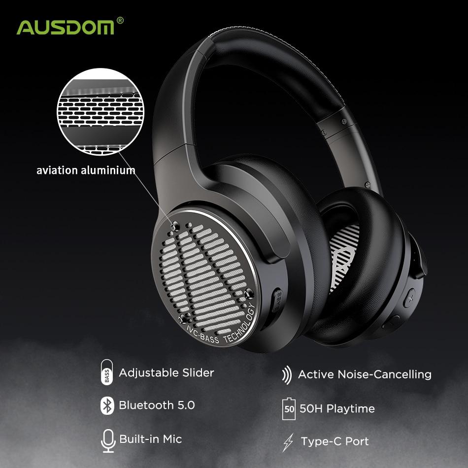 Fones de Ouvido com Cancelamento de Ruído Ativo com Super Fones de Ouvido um sem Fio Ausdom Baixo Graves Profundos Bluetooth 5.0