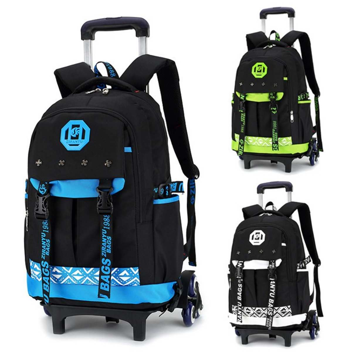 26L Rolling Men Luggage Travel Backpack Shoulder Spinner Backpacks High Capacity Wheels For Suitcase Trolley Carry On Duffle Bag
