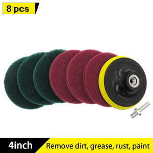 8pcs 4inch Electric Drill Brush Scrub Pads Grout Power Drills Scrubber Cleaning Brush Tub Cleaner Tools Kit