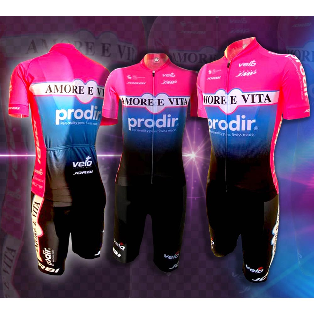Maglia Amore Vita Prodir Quadrato <font><b>Velo</b></font> Cycling Team Suit Maillot Pink Shirts Bike Jersey Set Ciclismo Ropa Bicycle Kit Tops Wear image