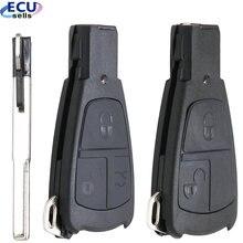 3 botão estilo antigo para benz mercedes c180 1998-2004 w202 remoto carro chave do escudo design inteligente chave fob capa caso com lâmina