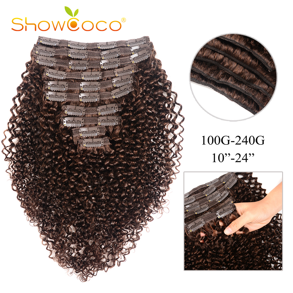 Clip In Human Hair Extensions Curly Hair Clip #2 Dark Brown 10-24 Inches ShowCoco Remy Hair Clip Ins