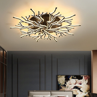 Modern Black Acrylic Chandelier for living room bedroom Lustre Ceiling Chandeliers Lighting for bedroom home use