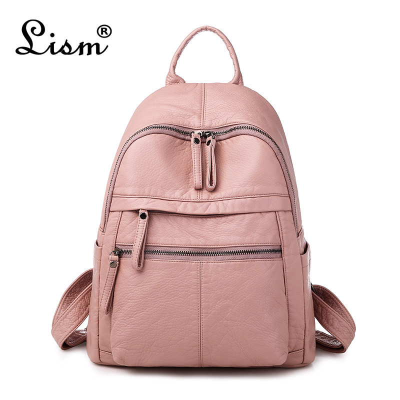 Ladies Backpack 2020 New Large Capacity Soft PU Leather Youth Student School Bag Fashion Travel Bag Black Main