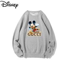 Original Disney Mickey Polar Fleece Round Neck Sweater Winter New Pure Color Sweater  Hoodies for Girls