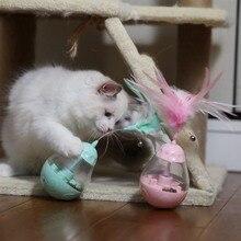 Игрушки для домашних животных для кошки светодиодный стакан дозатор корма котенок интерактивный игровой автомат спиннинг Кот перо игрушка протекающая еда Pet Pro