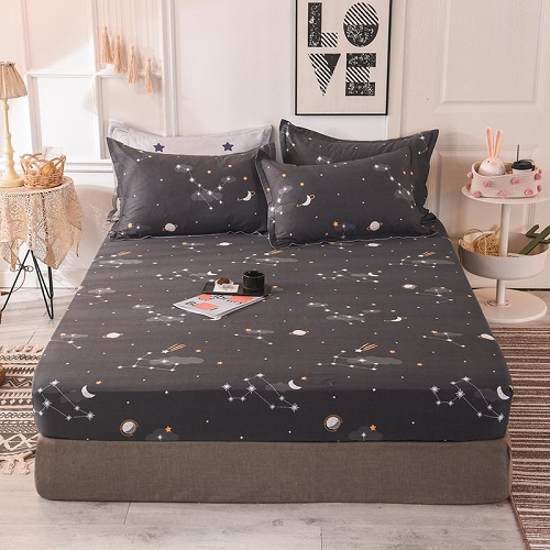 (New On Product) 1pcs 100% Cotton Printing bed mattress set with four corners and elastic band sheets(pillowcases need order) 13