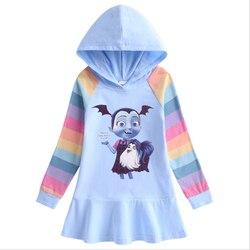 Camisola com capuz 3 a 10 anos de idade vampirina outono novo algodão arco-íris menina vestido das crianças de manga comprida com capuz camisola saia