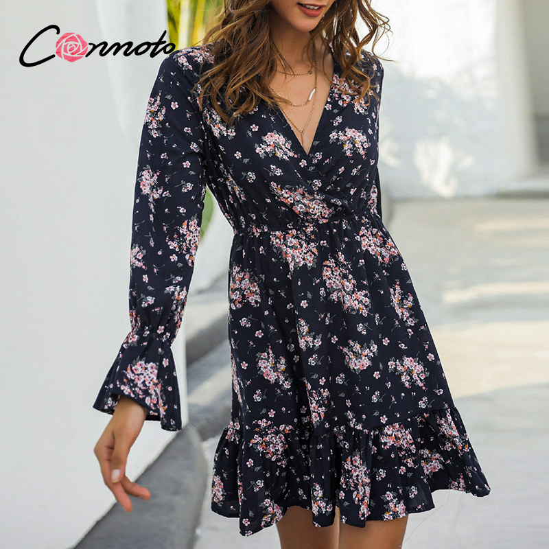Conmoto Floral Casual Bohemian Casual Ruffles Dresses Women Vintage Femme Robe Dress Plus Size Sexy Short Tdress Vestidos