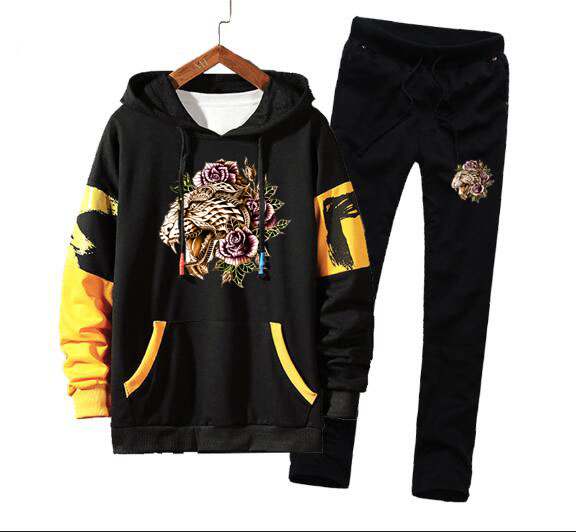 Men Tiger Hooded Print Hip Hop Sport Tracksuit Coat Jacket Trousers Pants Suit Outfit 2PC