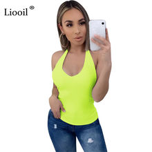 Liooil Neon Groene Sexy Halter Tank Tops Vrouwen Rave Kleding 2020 Streetwear Mouwloze Backless Zwart Wit Party Cami Top(China)