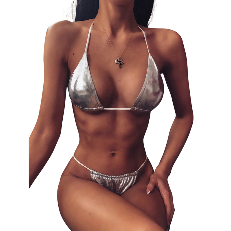 Micro Bikini 2020  Exotic Bikini Set Metallic Shiny Wet Look Bra Micro G-string Thong Lingerie Underwear Swimwear Women Swimsuit