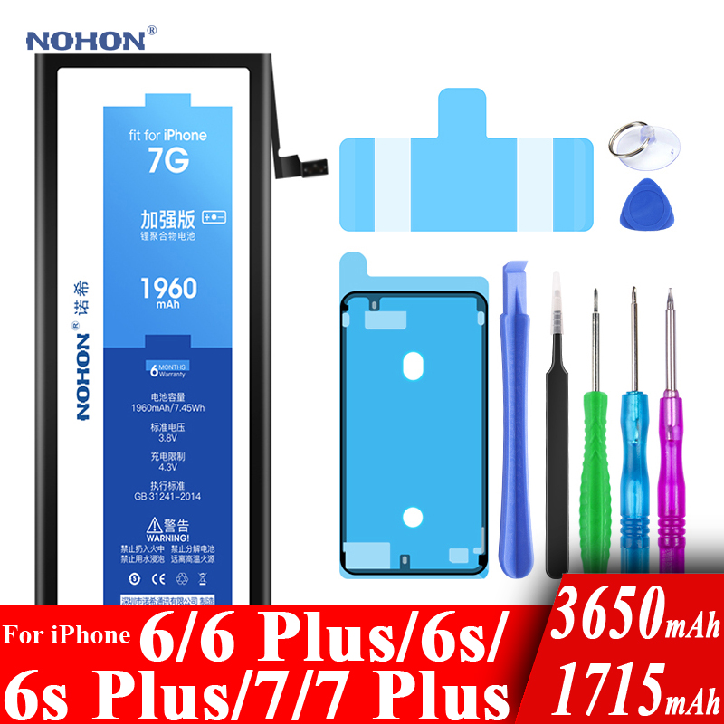 Nohon Battery For Apple iPhone 7 6 6s Plus 7Plus 6Plus 7P 6sP 6P 1715-3650mAh Replacement Batteries+Tools For iPhone 6 6s 7 Plus image