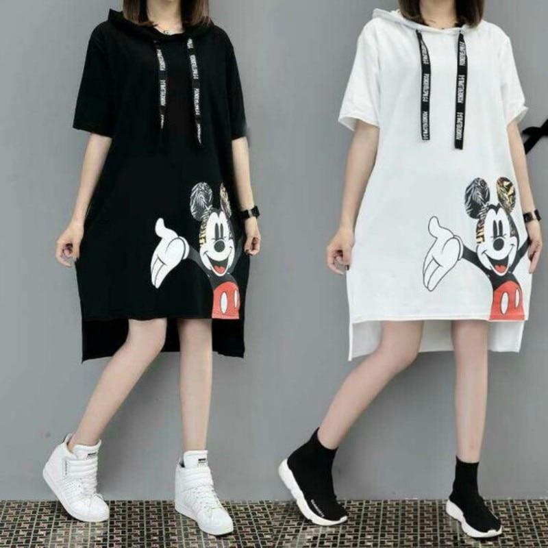 2019 New Runway Short Sleeve Hooded Sweatshirt Dress Casual Mickey Cartoon Printed Women Femme Oversize Dresses Vestidos